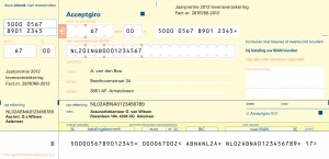 Afbeelding IBAN-Acceptgiro met voorbeeldtekst
